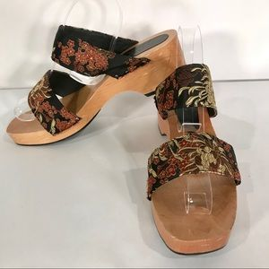 Greater L.A. Wood Platform Slide Mule Sandals Sz 9